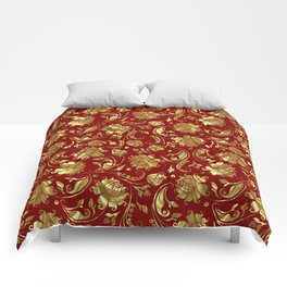 Dark Red & Gold Floral Damasks Pattern Comforters