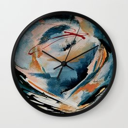 Drift 6: a bold mixed media piece in blues, brown, pink and red Wall Clock