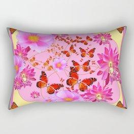Monarch Butterfly Floral Cream-grey  Abstract Rectangular Pillow