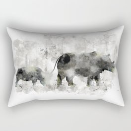 Rhino and Calf Rectangular Pillow