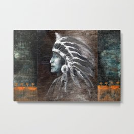 digital artwork face Native Americans feathers chief painting abstract profile grunge Metal Print