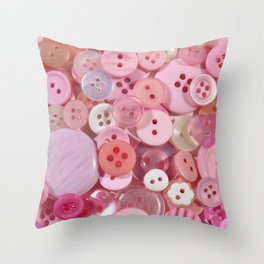 Baby pink buttons background Throw Pillow
