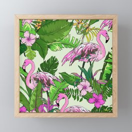 Pink Flamingoes and Tropical Flowers Print Framed Mini Art Print