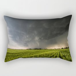 Beautiful Storm - Tornado Emerges From Rain Over Wheat Field in Kansas Rectangular Pillow