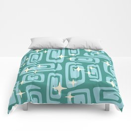 Mid Century Modern Cosmic Galaxies 234 Teal and Blue Comforters
