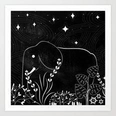 Elephant and Stars Art Print
