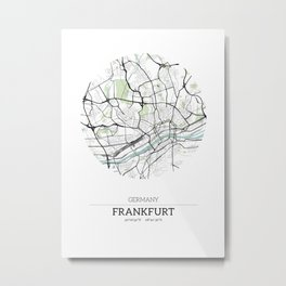 Frankfurt, Germany City Map with GPS Coordinates Metal Print
