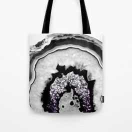 Gray Black White Agate with Purple Black Silver Glitter #1 #gem #decor #art #society6 Tote Bag