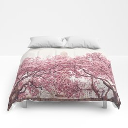 New York City - Central Park - Cherry Blossoms Comforters