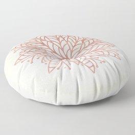 Flowery Rose Gold Mandala on Cream II Floor Pillow