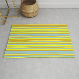 Yellow, Goldenrod & Light Sky Blue Colored Lined Pattern Rug
