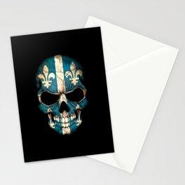 Dark Skull with Flag of Quebec Stationery Cards