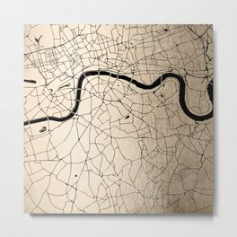 London Gold on Black Street Map II Metal Print