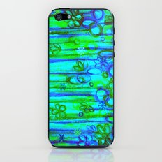 WINTER GARDEN -Bright Blue Green Neon Snowflake Floral Abstract Watercolor Painting and Digital Art iPhone & iPod Skin
