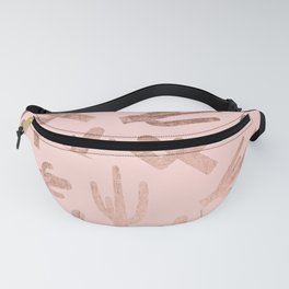 Modern rose gold cactus pattern on blush pink Fanny Pack