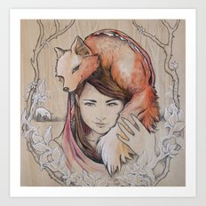 Safe in My Red Riding Hood, Balsa Art Print