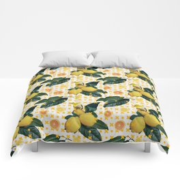 Bird & lemons yellow pattern Comforters