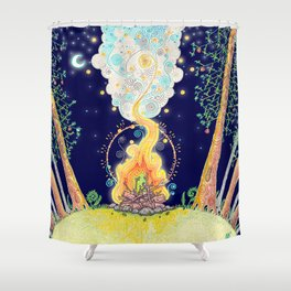 Woodland Campfire Shower Curtain