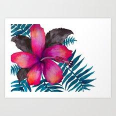 Pink Hibiscus Flower - WHITE Art Print