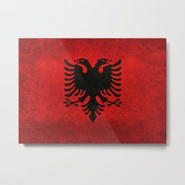 Albanian Flag with Grungy Texture Metal Print