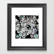 Colorful black detailed floral pattern Framed Art Print