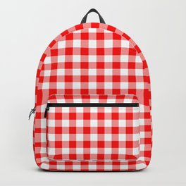 Valentine Red Heart Rich Red and White Buffalo Check Plaid Backpack