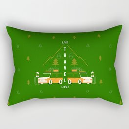 Live Travel Love - Green Rectangular Pillow