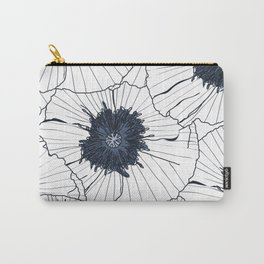 Navy and white poppies Carry-All Pouch