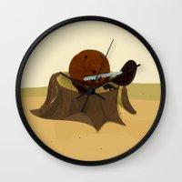beaver Wall Clocks featuring Beaver by Studio Ria