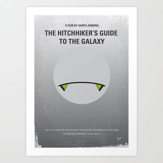 No035 My Hitchhiker Guide minimal movie poster Art Print