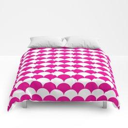 Pink Fan Shell Pattern Comforters