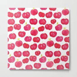 Red Apples Pattern | Watercolour Metal Print