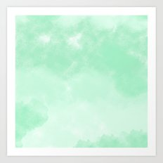 Mint Watercolor Abstract Art Print