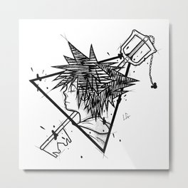 Sora Handmade Drawing, Made in pencil and ink, Tattoo Sketch, Videogames Art Metal Print