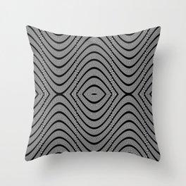 Monochrome wavy pattern Throw Pillow
