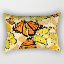 YELLOW MONARCH BUTTERFLY  & ORANGES MARMALADE Rectangular Pillow