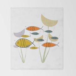 Mid Century Modern Fish, Marine Life Throw Blanket