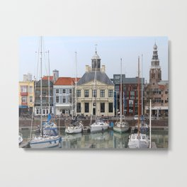 View of the Quaint Vissershaven, Vlissingen, Netherlands Metal Print