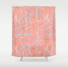 Golden Flamingo Shower Curtain