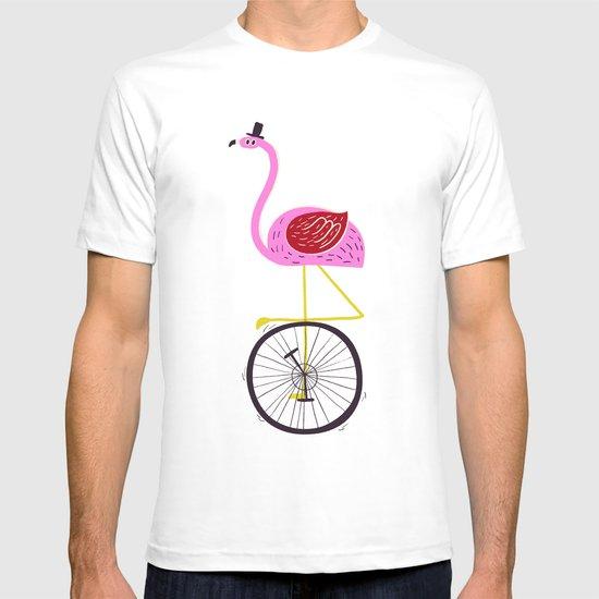 flamingo unicycler T-shirt