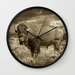 American Buffalo in Sepia Tone Wall Clock