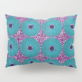 Turquoise Donuts African Ankara Delight Pillow Sham