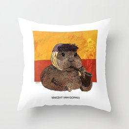 Vincent van Gopher Throw Pillow