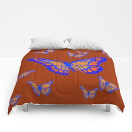 CHOCOLATE COLOR & BLUE-GOLD MONARCH BUTTERFLIES Comforters