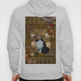 Funny cat with steampunk hat Hoody