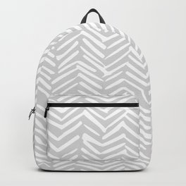 Abstract Herringbone, Striped Pattern, Gray and White Backpack