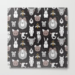 Friendly Geometric Farm Animals // black background black and white brown grey and yellow pigs queen bees lambs cows bulls dogs cats horses chickens and bunnies Metal Print