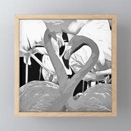 pink flamingo love couple vector art black white Framed Mini Art Print