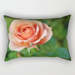 Garden pink rose flower blooming and two rose buds Rectangular Pillow
