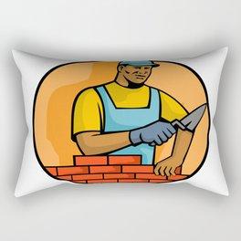 African American Bricklayer Mascot Rectangular Pillow